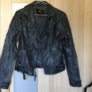 Miss sixty grey studded faux leather jacket